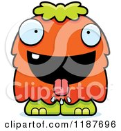 Cartoon Of A Hungry Furry Monster Royalty Free Vector Clipart