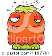 Cartoon Of A Drunk Furry Monster Royalty Free Vector Clipart
