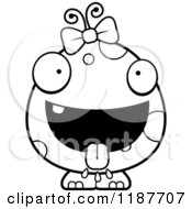 Cartoon Of A Black And White Hungry Female Monster Royalty Free Vector Clipart by Cory Thoman