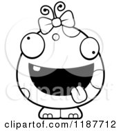 Cartoon Of A Black And White Crazy Female Monster Royalty Free Vector Clipart by Cory Thoman