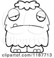 Cartoon Of A Black And White Depressed Furry Monster Royalty Free Vector Clipart