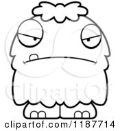 Cartoon Of A Black And White Mad Furry Monster Royalty Free Vector Clipart