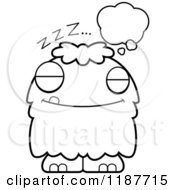 Cartoon Of A Black And White Dreaming Furry Monster Royalty Free Vector Clipart