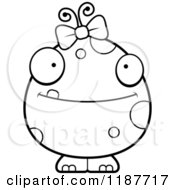 Cartoon Of A Black And White Happy Female Monster Royalty Free Vector Clipart by Cory Thoman