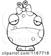 Cartoon Of A Black And White Depressed Female Monster Royalty Free Vector Clipart by Cory Thoman