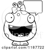Cartoon Of A Black And White Talking Female Monster Royalty Free Vector Clipart by Cory Thoman