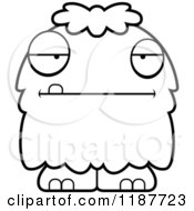 Cartoon Of A Black And White Bored Furry Monster Royalty Free Vector Clipart