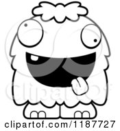 Cartoon Of A Black And White Excited Furry Monster Royalty Free Vector Clipart