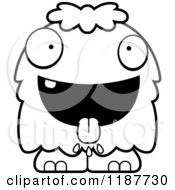 Cartoon Of A Black And White Hungry Furry Monster Royalty Free Vector Clipart