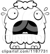 Cartoon Of A Black And White Scared Furry Monster Royalty Free Vector Clipart