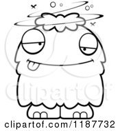 Cartoon Of A Black And White Drunk Furry Monster Royalty Free Vector Clipart
