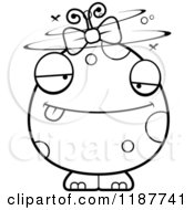 Cartoon Of A Black And White Drunk Female Monster Royalty Free Vector Clipart by Cory Thoman