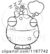 Cartoon Of A Black And White Dreaming Female Monster Royalty Free Vector Clipart by Cory Thoman
