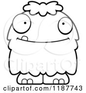 Cartoon Of A Black And White Happy Furry Monster Royalty Free Vector Clipart
