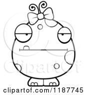 Cartoon Of A Black And White Bored Female Monster Royalty Free Vector Clipart by Cory Thoman