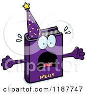 Cartoon Of A Screaming Magic Spell Book Mascot Royalty Free Vector Clipart