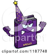Cartoon Of A Mad Magic Spell Book Mascot Royalty Free Vector Clipart