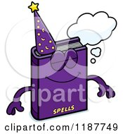 Cartoon Of A Dreaming Magic Spell Book Mascot Royalty Free Vector Clipart