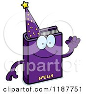 Cartoon Of A Waving Magic Spell Book Mascot Royalty Free Vector Clipart