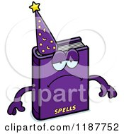 Cartoon Of A Depressed Magic Spell Book Mascot Royalty Free Vector Clipart