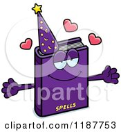 Cartoon Of A Loving Magic Spell Book Mascot Royalty Free Vector Clipart