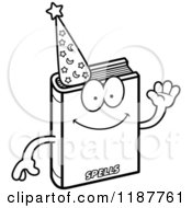 Cartoon Of A Black And White Waving Magic Spell Book Mascot Royalty Free Vector Clipart