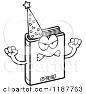 Cartoon Of A Black And White Mad Magic Spell Book Mascot Royalty Free Vector Clipart