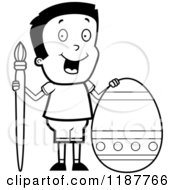 Cartoon Of A Black And White Happy Boy With A Brush And Easter Egg Royalty Free Vector Clipart