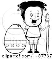 Cartoon Of A Black And White Happy African Girl With A Brush And Easter Egg Royalty Free Vector Clipart