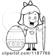 Cartoon Of A Black And White Happy Girl With A Brush And Easter Egg 2 Royalty Free Vector Clipart