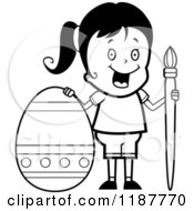 Cartoon Of A Black And White Happy Girl With A Brush And Easter Egg Royalty Free Vector Clipart