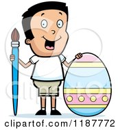 Cartoon Of A Happy Boy With A Brush And Easter Egg Royalty Free Vector Clipart by Cory Thoman
