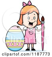 Cartoon Of A Happy Strawberry Blond Girl With A Brush And Easter Egg Royalty Free Vector Clipart by Cory Thoman