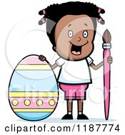 Cartoon Of A Happy Black Girl With A Brush And Easter Egg Royalty Free Vector Clipart