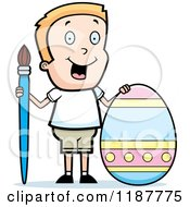 Cartoon Of A Happy Blond Boy With A Brush And Easter Egg Royalty Free Vector Clipart by Cory Thoman