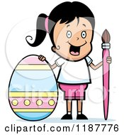 Cartoon Of A Happy Girl With A Brush And Easter Egg Royalty Free Vector Clipart by Cory Thoman