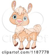 Cartoon Of A Cute Beige Llama With Blue Eyes Royalty Free Vector Clipart