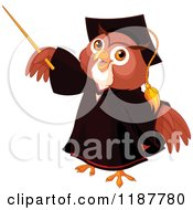 Cartoon Of A Wise Professor Owl Holding Up A Pointer Stick Royalty Free Vector Clipart by Pushkin