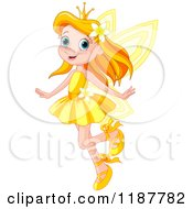 Cartoon Of A Happy Red Haired Fairy Princess Girl In A Yellow Dress Royalty Free Vector Clipart