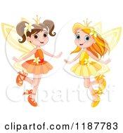 Cartoon Of Happy Fairy Princess Girls Royalty Free Vector Clipart