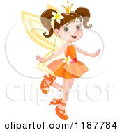 Happy Brunette Fairy Princess Girl In An Orange Dress
