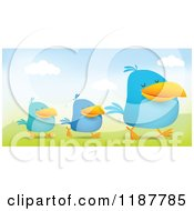Cartoon Of Blue Social Media Birds Walking In Line In A Hilly Landscape Royalty Free Vector Clipart by Qiun