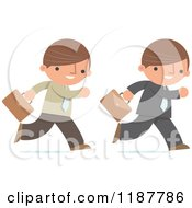 Cartoon Of A Businessman Shown In Two Different Outfits Running With With Briefcases Royalty Free Vector Clipart
