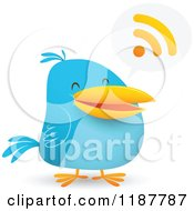 Cartoon Of A Blue Social Media Bird With An RSS Speech Balloon Royalty Free Vector Clipart by Qiun