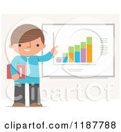 Cartoon Of A Businessman Pointing To And Discussing A Chart Royalty Free Vector Clipart