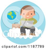 Cartoon Of A Businessman Using A Laptop Computer On A Cloud Over A Blue Circle With Earth Royalty Free Vector Clipart