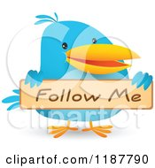 Cartoon Of A Blue Social Media Bird Holding A Follow Me Sign Royalty Free Vector Clipart by Qiun