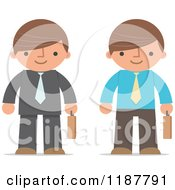 Cartoon Of A Businessman Shown In Two Different Outfits With Briefcases Royalty Free Vector Clipart