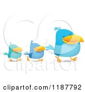 Cartoon Of Blue Social Media Birds Walking In Line Royalty Free Vector Clipart