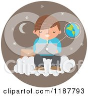 Cartoon Of A Businessman Using A Laptop Computer On A Cloud Over A Brown Moon And Star Circle With Earth Royalty Free Vector Clipart